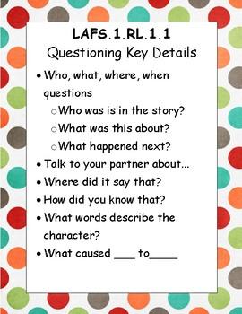 Kindergarten LAFS question / prompting task cards