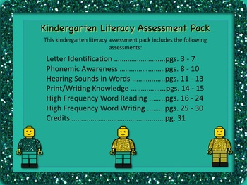 Kindergarten LITERACY Assessment Pack - Back to School and Use All Year Long!
