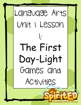 Language Arts Centers and Worksheets- Days of Creation :Bible Unit 1 Lesson 1