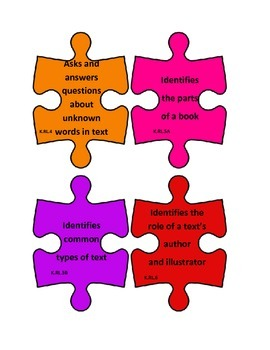 Kindergarten Language Arts Common Core I Can Statements Puzzle Pieces B2S