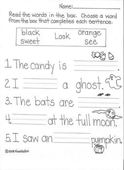 Kindergarten Language Arts Halloween Worksheets