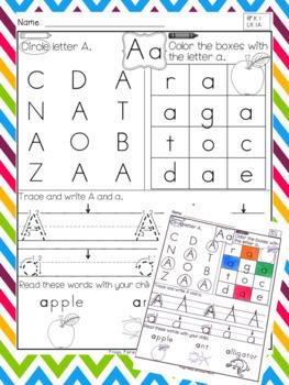 Kindergarten Language Arts Homework - 1st Quarter