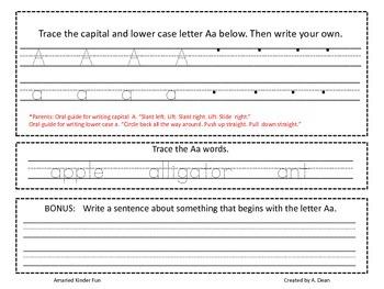 Letter Aa Homework Menu