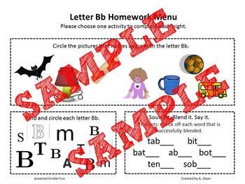 Letter Bb Homework Menu