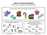 Letter Cc Homework Menu