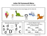 Letter Dd Homework Menu