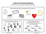 Letter Ee Homework Menu