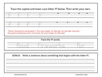 Letter Ff Homework Menu