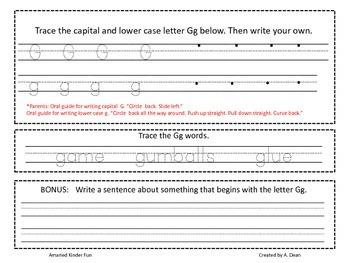 Letter Gg Homework Menu