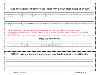 Letter Mm Homework Menu