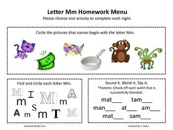 Letter Mm Homework Menu
