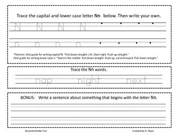 Letter Nn Homework Menu