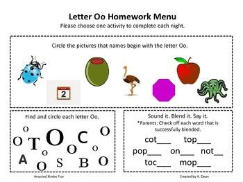 Letter Oo Homework Menu