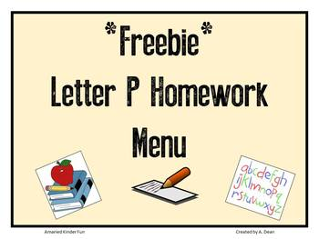 Letter Pp Homework Menu **Freebie**