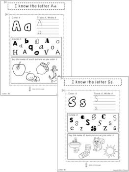 Kindergarten Language Arts Interactive Notebook ~ Letters of the Alphabet