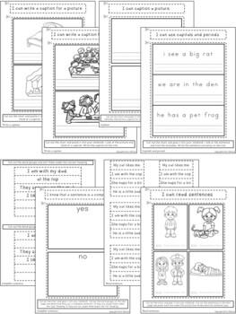 Kindergarten Language Arts Interactive Notebook ~ Sentences
