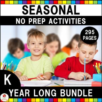 Kindergarten Language Arts & Math Seasonal No Prep Bundle