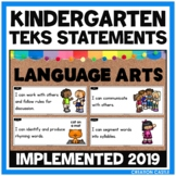 Kindergarten Language Arts TEKS Can and Will Standards Statements