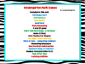 Kindergarten Math Games -17 games
