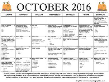 Kindergarten Language Calendar October 2016