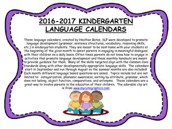Kindergarten Language Calendars 2016-2017