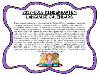 Kindergarten Language Calendars 2017-2018