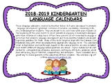 Kindergarten Language Calendars 2018-2019