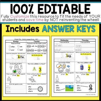 Kindergarten Language Homework Kindergarten Morning Work 100% EDITABLE