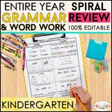 Kindergarten Language Spiral Review | Grammar Homework or
