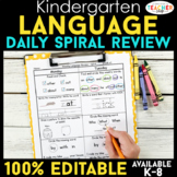 Kindergarten Language Spiral Review | ELA Homework or Morn