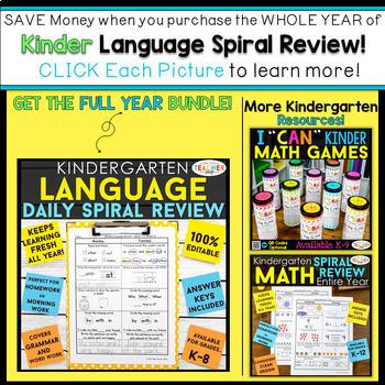 Kindergarten Language Homework Kindergarten Morning Work FREE