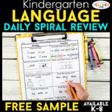 Kindergarten Language Spiral Review | 2 Weeks FREE