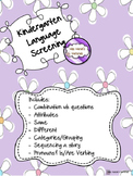 Kindergarten Language Screening Kit