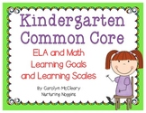Kindergarten Learning Goals and Learning Scales