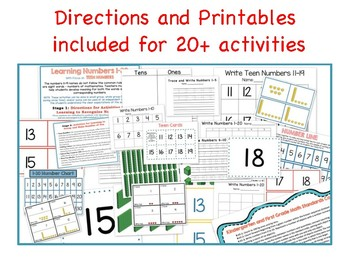 Kindergarten Learning Numbers 1-30 Place Value, 20 class and center activities
