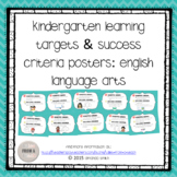 Kindergarten Learning Targets & Success Criteria Posters: English Language Arts
