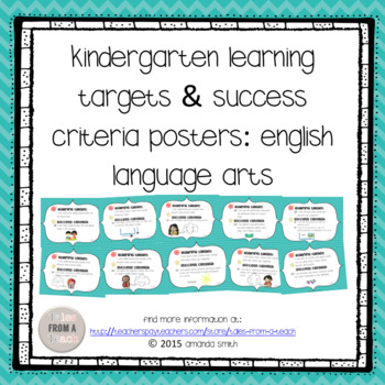 Kindergarten Learning Targets & Success Criteria Posters: