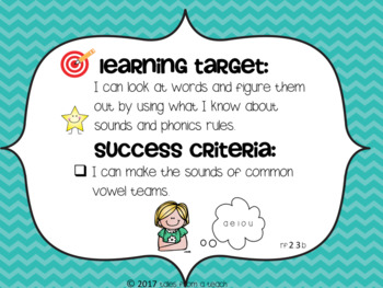 Second Grade Learning Targets & Success Criteria Posters: English Language Arts