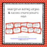 Kindergarten Learning Targets & Success Criteria Posters: Math
