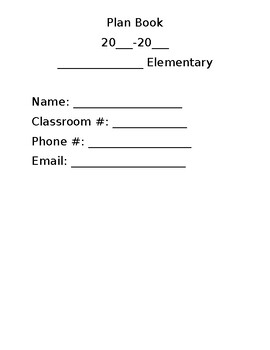Kindergarten Lesson Plan Book Template
