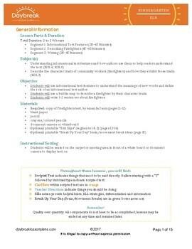 Emergency Sub Plans: Kindergarten: ELA Informational: Firefighters