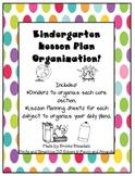 Kindergarten Lesson Plan Organizer