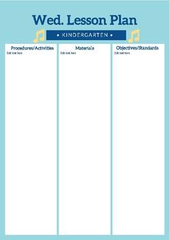 Kindergarten Lesson Plan Template (Editable)