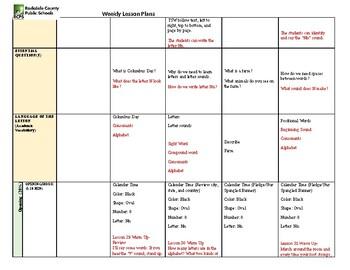 Kindergarten Lesson Plan Week 9
