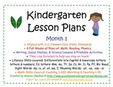 Kindergarten Lesson Plans - Month 1-Common Core Aligned - GBK