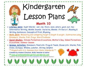 Kindergarten Lesson Plans - Month 10 - Common Core Aligned