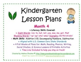 Kindergarten Lesson Plans - Month 4 - Common Core Aligned -GBK
