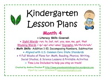 Kindergarten Lesson Plans - Month 4 - Common Core Aligned -GBK