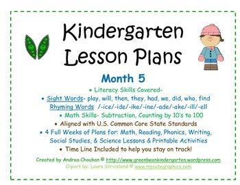 Kindergarten Lesson Plans - Month 5 - Common Core Aligned -GBK