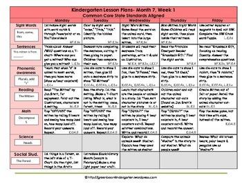 Kindergarten Lesson Plans - Month 7 - Common Core Aligned -GBK